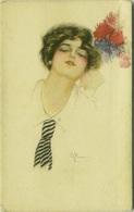 NANNI SIGNED 1910s POSTCARD - WOMAN WITH FLOWERS - N.49-4  (BG328) - Nanni