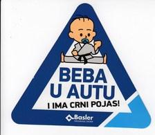 Croatia / Baby In The Car, And Has A Black Belt / Basler Insurance / Car Sticker - Adesivi