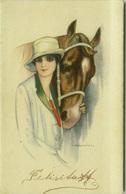 NANNI SIGNED 1910s POSTCARD - WOMAN WITH HORSE - N.257-5 (BG330) - Nanni