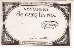 BILLETE DE FRANCIA DE 5 LIVRES SERIE 20685  (BANKNOTE) - ...-1889 Francos Ancianos Circulantes Durante XIXesimo