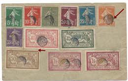 Entier Postal Semeuse Paris 1920, Au Verso 7 Timbres Semeuse Et 5 Timbres Merson, Oblitérés En Suisse Cachet Bouchon - France