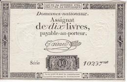 BILLETE DE FRANCIA DE 10 LIVRES DEL AÑO 1792 SERIE 10297  (BANKNOTE) - ...-1889 Francos Ancianos Circulantes Durante XIXesimo