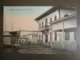 Antique Tarjeta Postal - Peru Perou - Aduana De Paita - Piura - Librería Ramos Montero - Railroad Rail Chemin De Fer - Peru