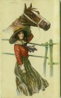 BERTIGLIA SIGNED 1910s POSTCARD - WOMAN WITH HORSE -  N. 2151 (BG337) - Bertiglia, A.