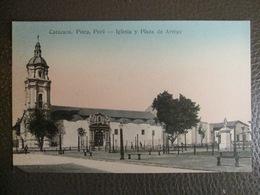 Antique Tarjeta Postal - Peru Perou - Catacaos - Iglesia Y Plaza De Armas - Piura - Librería Ramos Montero - Peru