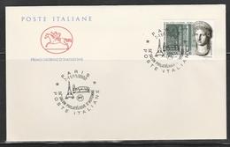 OBLIT. ILLUSTRÉE POSTE ITALIE à PARIS 11/2002 - TOUR EIFFEL / COLISÉE ROME - Marcophilie (Lettres)