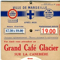 """Disque De Stationnement """"Grand Café Glacier"""" Canebière Marseille - Années 1950-1970? - Old Paper"""