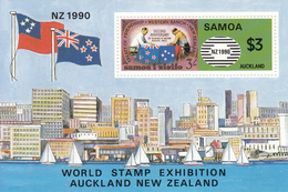 1990 Samoa New Zealand Flags   Souvenir Sheet MNH - Samoa