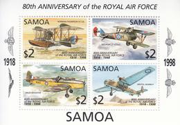 1998 Samoa Royal Air Force Aviation Planes  Souvenir Sheet MNH - Samoa