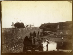 France Pays Basque Ciboure Pont De La Socoa Sur L'Untxin Ancienne Photo 1880 - Fotos
