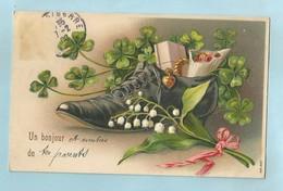 Souvenir  Bonjour Muguets Chaussure Cpa Gaufré - Greetings From...