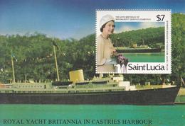 1986 St. Lucia QEII Birthday Britannia Cruise Ship Port  Souvenir Sheet MNH - St.Lucia (1979-...)