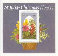 1988 St. Lucia Christmas Navidad Noel  Flowers Fleurs Souvenir Sheet MNH - St.Lucia (1979-...)