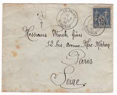 Lettre 1885 Le Palais Morbihan Bretagne Timbre Type Sage Paris Seine - 1876-1898 Sage (Type II)