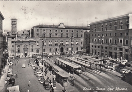 ITALY - Rome 1950's - Piazza San Silvestro - Automotive - Trolleybus - Places & Squares