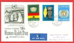 Droits De La Personne. Ghana, Anc. : Gold Coast; Timbre Scott # 86 - 88. Premier Jour / First Day Cover (0340) - Ghana (1957-...)