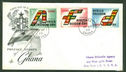 Freedom Day. Ghana, Anc. : Gold Coast; Timbre Scott # 75 - 77. Premier Jour / First Day Cover (0343) - Ghana (1957-...)