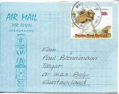 PAPUA NEW GUINEA AEROGRAMME Sent To Suisse 1 Stamp AEROGRAMME USED - Papúa Nueva Guinea