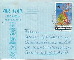 PAPUA NEW GUINEA AEROGRAMME Sent To Suisse 1 Stamp AEROGRAMME USED - Papouasie-Nouvelle-Guinée