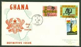 Ghana, Anc. : Gold Coast; Timbre Scott # 48 + 49 + 16a. Premier Jour / First Day Cover (0344) - Ghana (1957-...)