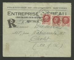 Dpt. DEUX SEVRES / Agence Postale Rurale RORTHAIS / Recommandé Provisoire Pétain 1944 >>> CHOLET - Postmark Collection (Covers)