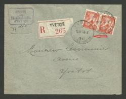 Paire IRIS / Recommandé YVETOT 03.03.1941......voir Cachet.....belle Frappe - Marcophilie (Lettres)
