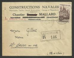 """Enveloppe Commerciale """" Constructions Navales - Chantier MALLARD """" à LES MUREAUX / Recommandé 1952 - Postmark Collection (Covers)"""