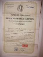 MARINA ITALIANA LICENZA PER I BATTELLI DA DIPORTO COMPARTIMENTO FIUME ( RIJEKA REKA ) PORTO DI LAURANA ( LOVRAN )   1938 - Vecchi Documenti