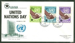 Nations Unies, Journée Ghana, Anc. : Gold Coast; Timbre Scott # 36 - 38. Premier Jour / First Day Cover (0345) - Ghana (1957-...)