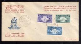 LIBYA LIBIA UNITED KINGDOM REGNO UNITO 1959 CONFERENZA INTERNAZIONALE DEI DATTERI DATES SERIE SET FDC - Libië