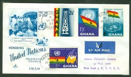 Nations Unies. Ghana, Anc. : Gold Coast; Timbre Scott # 67 - 70. Premier Jour / First Day Cover (0346) - Ghana (1957-...)