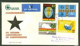 Indépendance / Independence. Ghana, Anc. : Gold Coast; Timbre Scott # 42 - 45. Premier Jour / First Day Cover (0347) - Ghana (1957-...)
