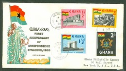 Indépendance / Independence. Ghana, Anc. : Gold Coast; Timbre Scott # 17 - 20. Premier Jour / First Day Cover (0348) - Ghana (1957-...)