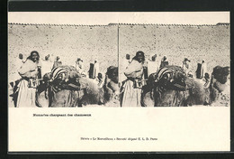 Stereo-AK Nomades Chargeant Des Chameaux - Stereoscope Cards
