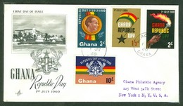 Republic Day. Ghana, Anc. : Gold Coast; Timbre Scott # 78 - 81. Premier Jour / First Day Cover (0349) - Ghana (1957-...)