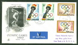Rome; Olympiques De 1960. Ghana, Anc. : Gold Coast; Timbre Scott # 78 - 81. Premier Jour / First Day Cover (0352) - Ghana (1957-...)