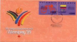 Lote 2137-4F, Colombia, 1999, SPD-FDC, XIII Juegos Panamericanos Winnipeg, Ciclismo, Bandera, Cycling, Bicycle - Colombia