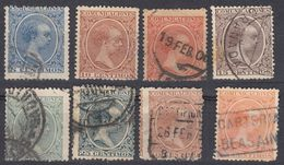 ESPAÑA - SPAGNA - SPAIN - ESPAGNE- 1889/1899 - Lotto Di 8 Valori Usati: Yvert 198, 200/204, 206 E 208, Come Da Immagine - 1889-1931 Königreich: Alphonse XIII.