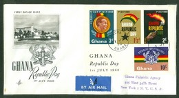 Republic Day. Ghana, Anc. : Gold Coast; Timbre Scott # 78 - 81. Premier Jour / First Day Cover (0353) - Ghana (1957-...)