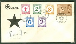 Postage Due. Ghana, Anc. : Gold Coast; Timbres Scott # J 1 - J 5 + 4. Premier Jour / First Day Cover (0354) - Ghana (1957-...)