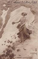 LE PRINTEMPS CHASSANT L'HIVER, MESTROIONNI. AN PARIS. CPA VOYAGEE AN YEAR 1932 - BLEUP - Pintura & Cuadros