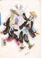 HANNA HANIEL KOPF. HASSIDIC DANCE. PALPHOT. CPA CIRCULEE ISRAEL TO BUENOS AIRES CIRCA 1960s - BLEUP - Pintura & Cuadros