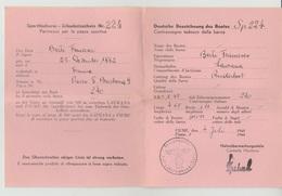 PERMESSO PESCA SPORTIVA    SPORTFISCHEREI LAURANA LOVRAN FIUME RIJEKA REKA  1944 - Documenti Storici