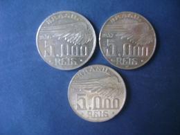 "BRAZIL / BRASIL - 3 COINS ""SANTOS DUMONT"", SILVER / PRATA , 1936, 1937 AND 1938 - Brazil"