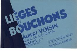 Buvard  Neuf   Lièges Et Bouchons  Albert Voisin  Paris Xème - Löschblätter, Heftumschläge