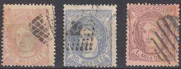 ESPAÑA - ESPAGNE- 1870 - Lotto Di 3 Valori Usati Di Seconda Scelta: Yvert 102, 105 E 107, Come Da Immagine. - 1870-72 Reggenza