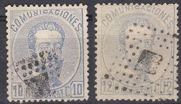 ESPAÑA - SPAGNA - SPAIN - ESPAGNE- 1872/1873 - Lotto Di 2 Valori Usati: Yvert 120/121, Come Da Immagine. - Gebraucht