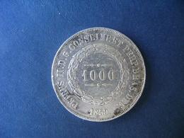 """BRAZIL / BRASIL - COIN """"1000 REIS"""", SILVER / PRATA , 1859 - Brésil"""