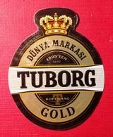 Beer Label, Used- Tuborg Gold. Dunya Markasi. Kopenhag. - Beer