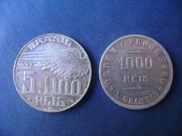 """BRAZIL / BRASIL - 2 COINS """"5O00 AND 1000 REIS"""", SILVER / PRATA , 1910 AND 1937 - Brazil"""